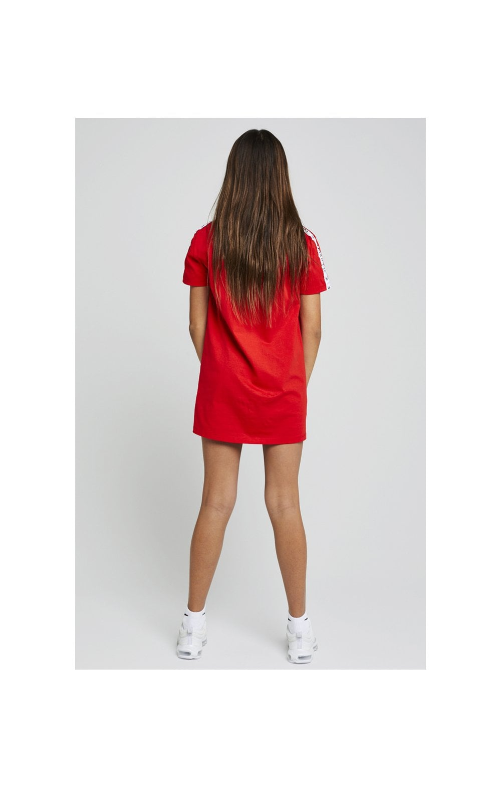 Load image into Gallery viewer, Illusive London Taped Tee Dress - Red (5)