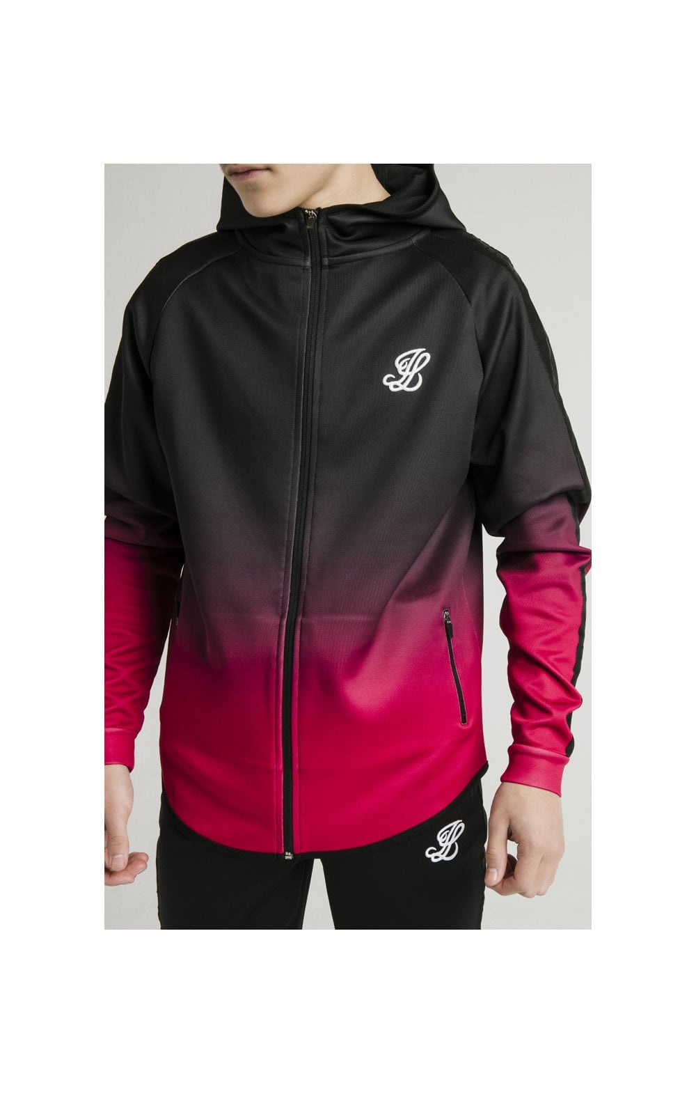 Load image into Gallery viewer, Illusive London Athlete Zip Through Fade Hoodie - Black & Pink