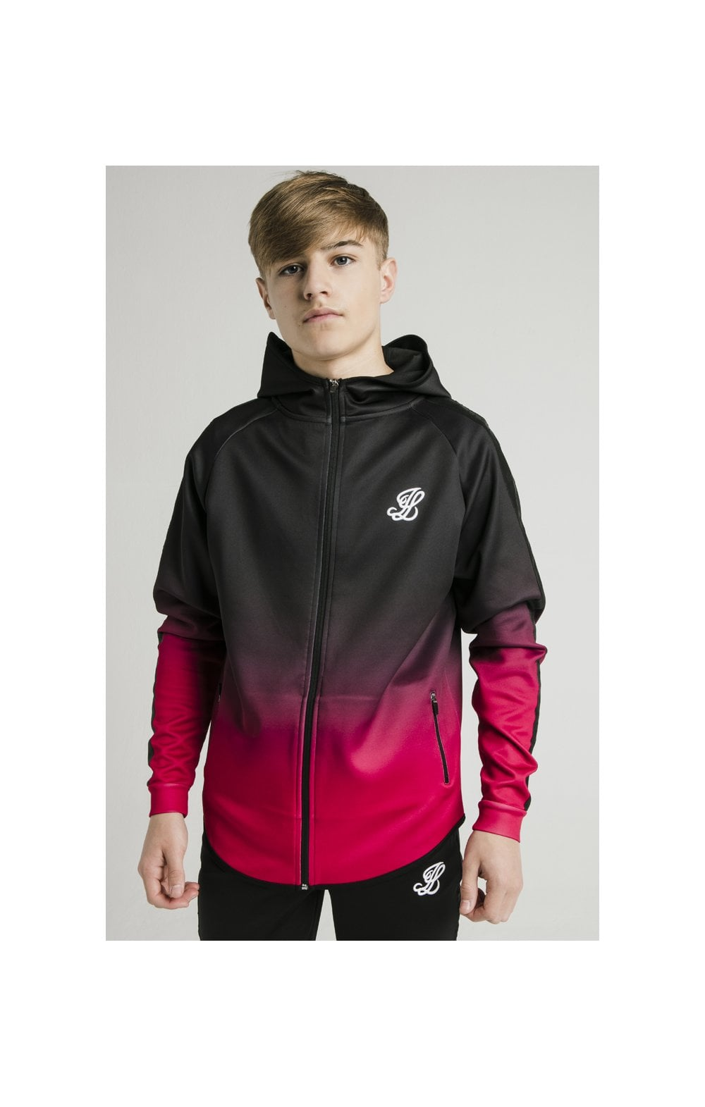 Load image into Gallery viewer, Illusive London Athlete Zip Through Fade Hoodie - Black & Pink (1)