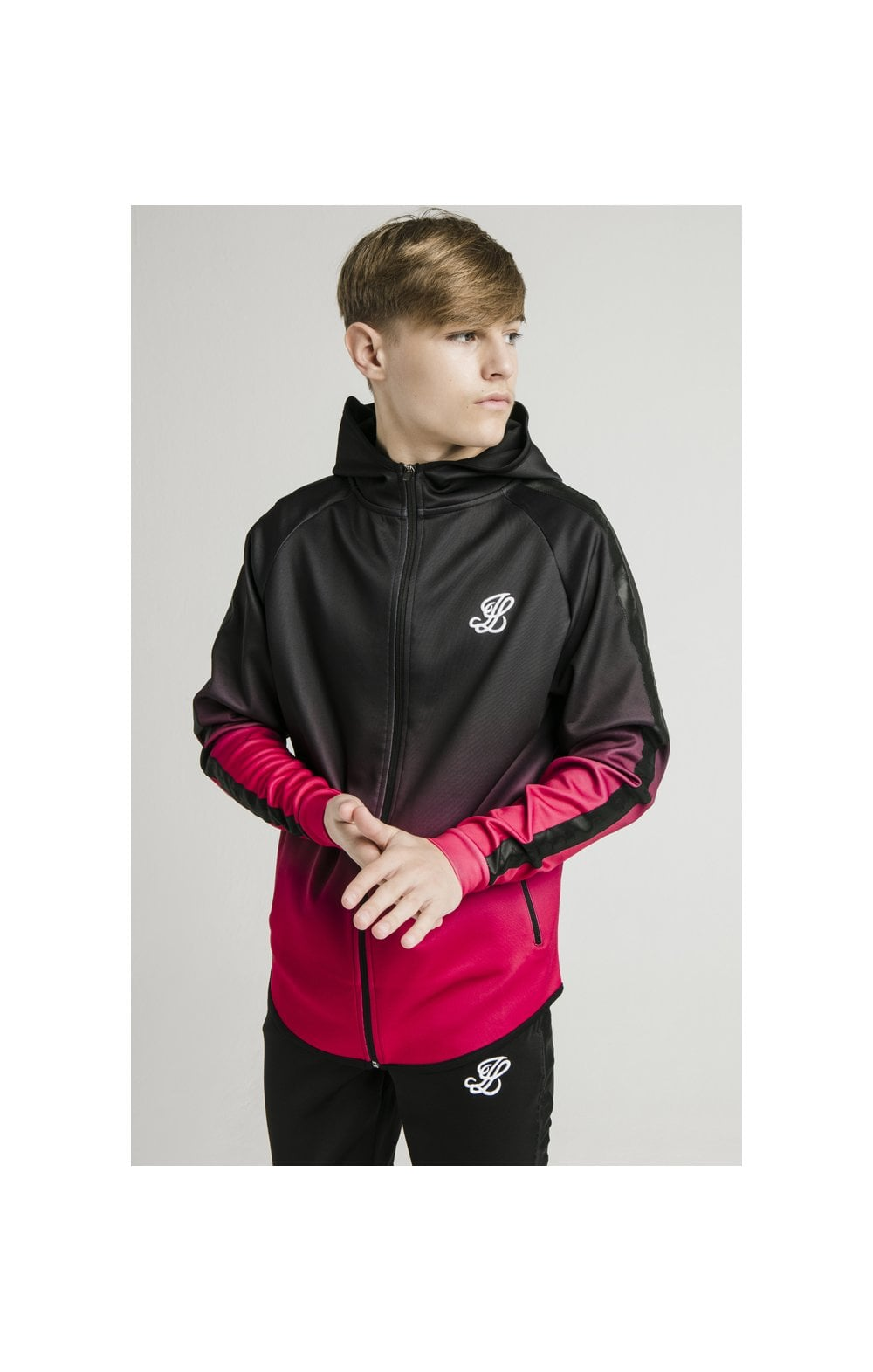 Load image into Gallery viewer, Illusive London Athlete Zip Through Fade Hoodie - Black & Pink (2)