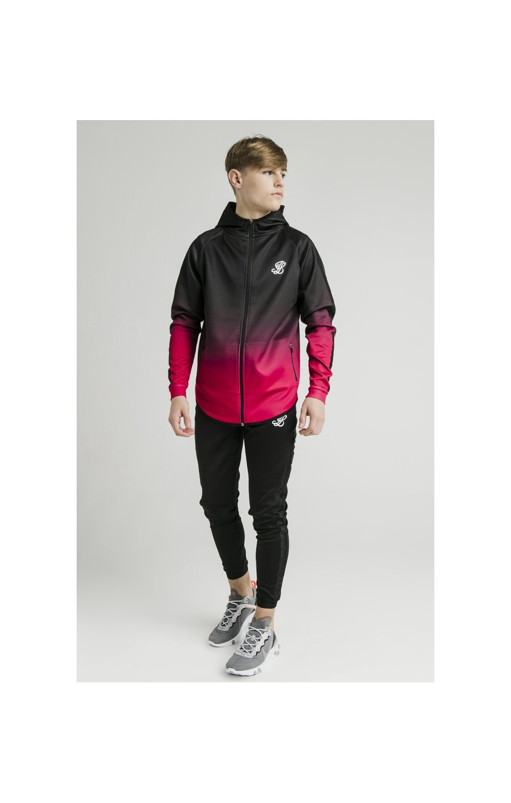 Load image into Gallery viewer, Illusive London Athlete Zip Through Fade Hoodie - Black & Pink (3)
