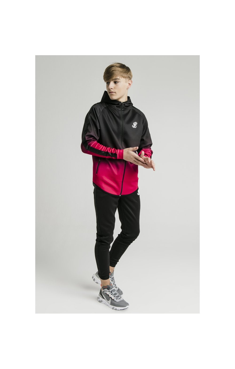Load image into Gallery viewer, Illusive London Athlete Zip Through Fade Hoodie - Black & Pink (4)