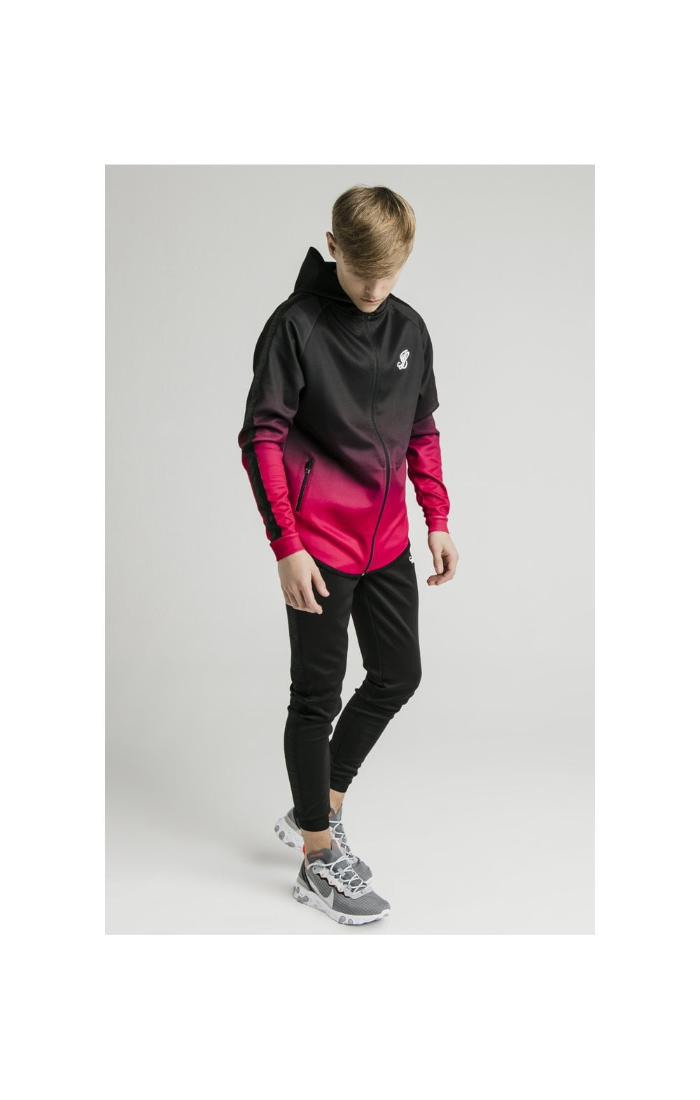 Load image into Gallery viewer, Illusive London Athlete Zip Through Fade Hoodie - Black & Pink (5)