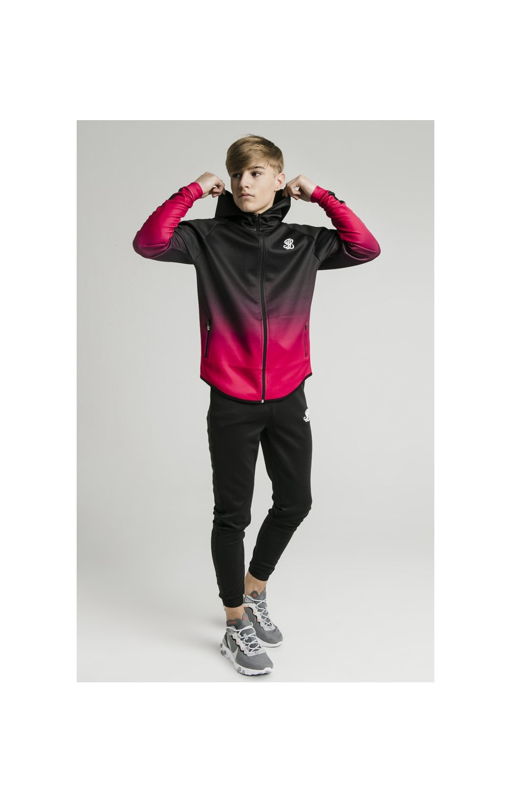 Load image into Gallery viewer, Illusive London Athlete Zip Through Fade Hoodie - Black & Pink (7)