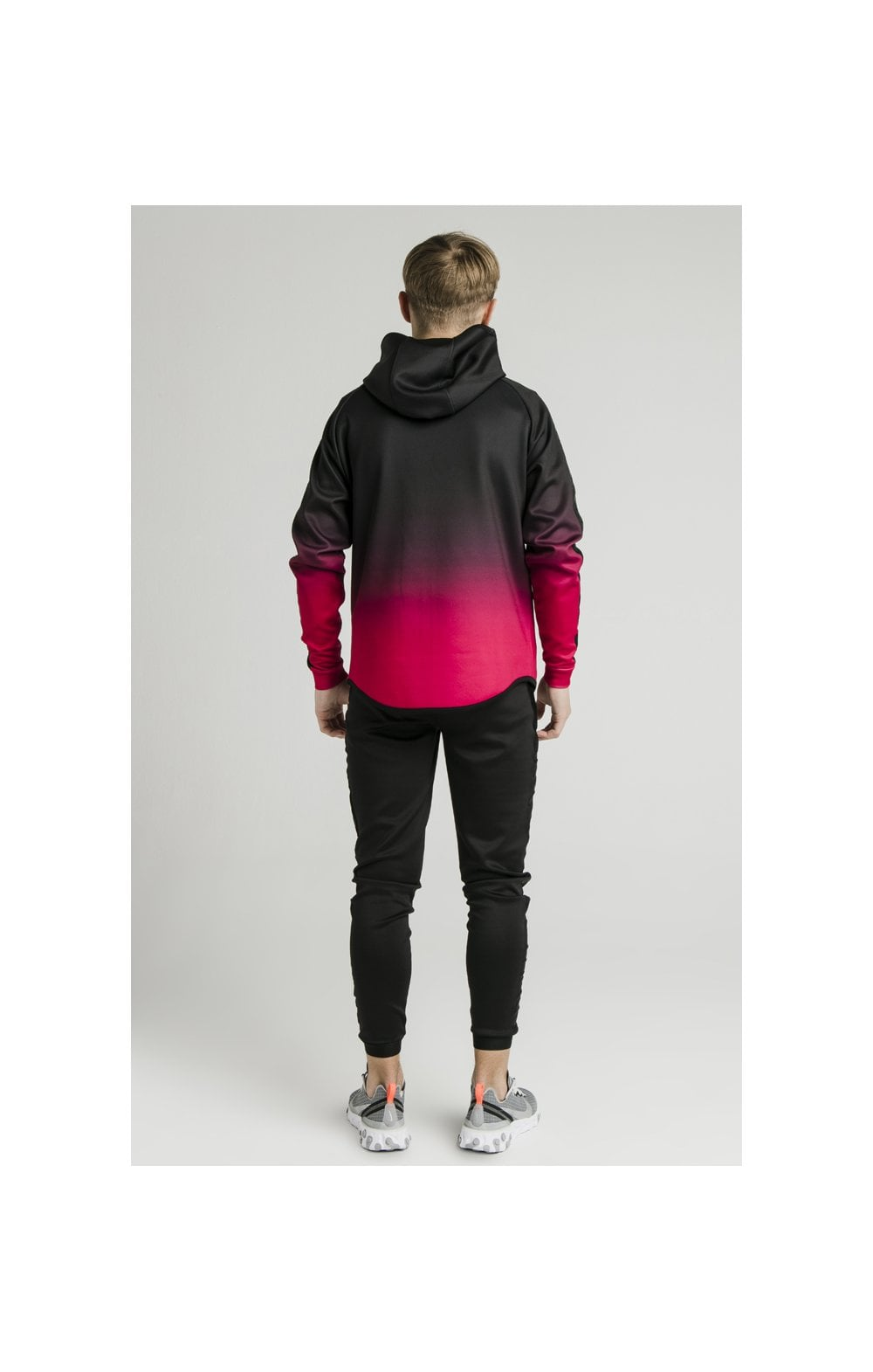 Load image into Gallery viewer, Illusive London Athlete Zip Through Fade Hoodie - Black & Pink (8)