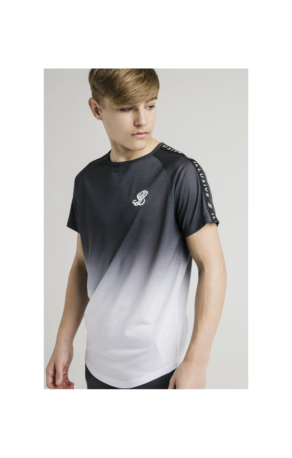 Load image into Gallery viewer, Illusive London S/S Fade Taped Tee - Grey & White (1)