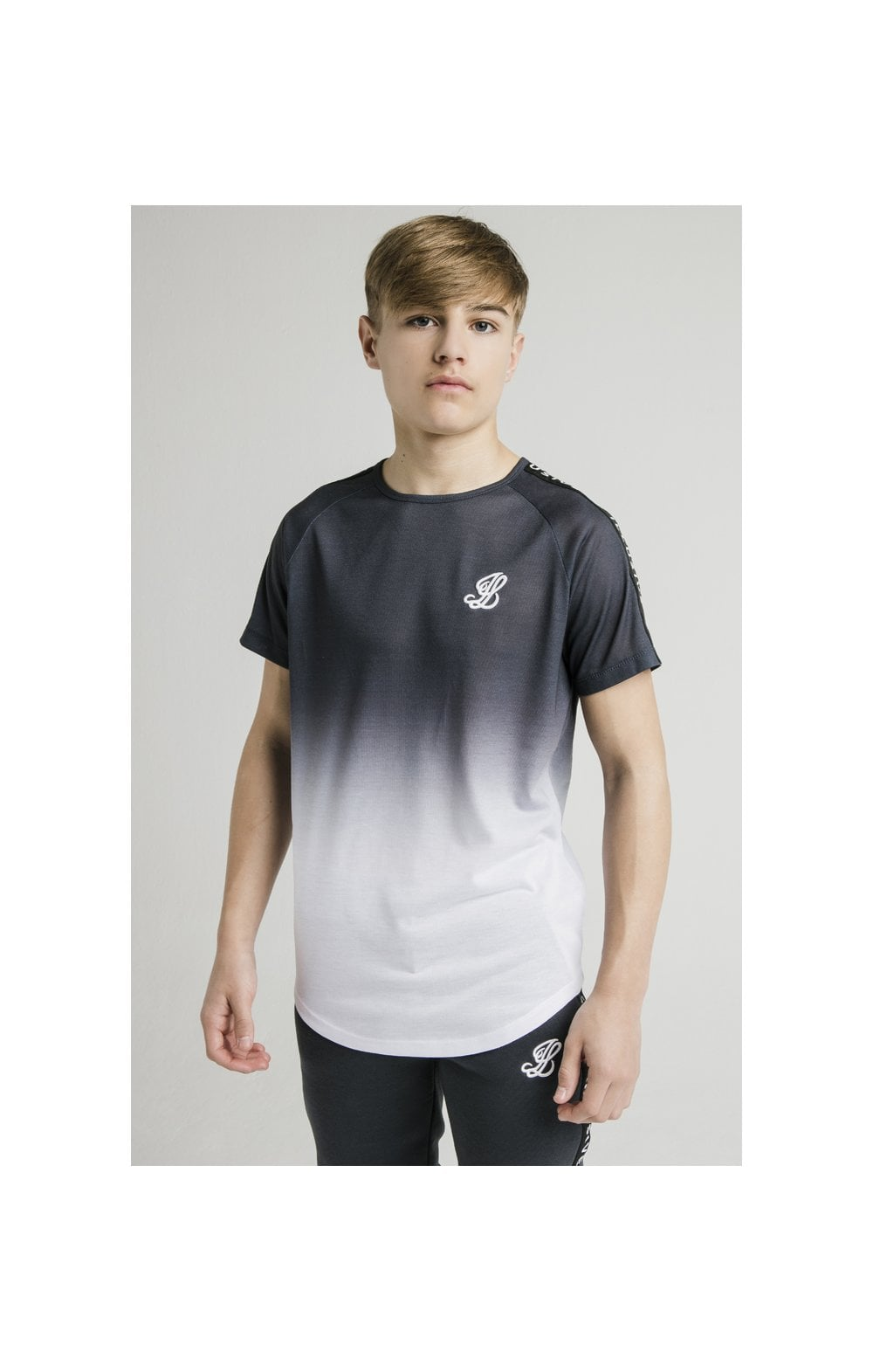 Load image into Gallery viewer, Illusive London S/S Fade Taped Tee - Grey & White (2)