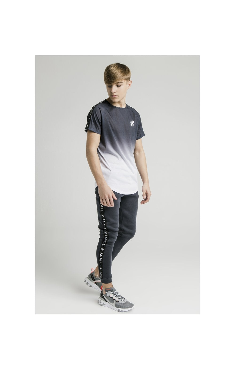 Load image into Gallery viewer, Illusive London S/S Fade Taped Tee - Grey & White (6)