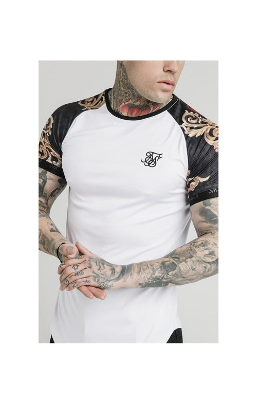SikSilk x Dani Alves S/S Curved Hem Raglan Tech Tee - White & Floral Animal