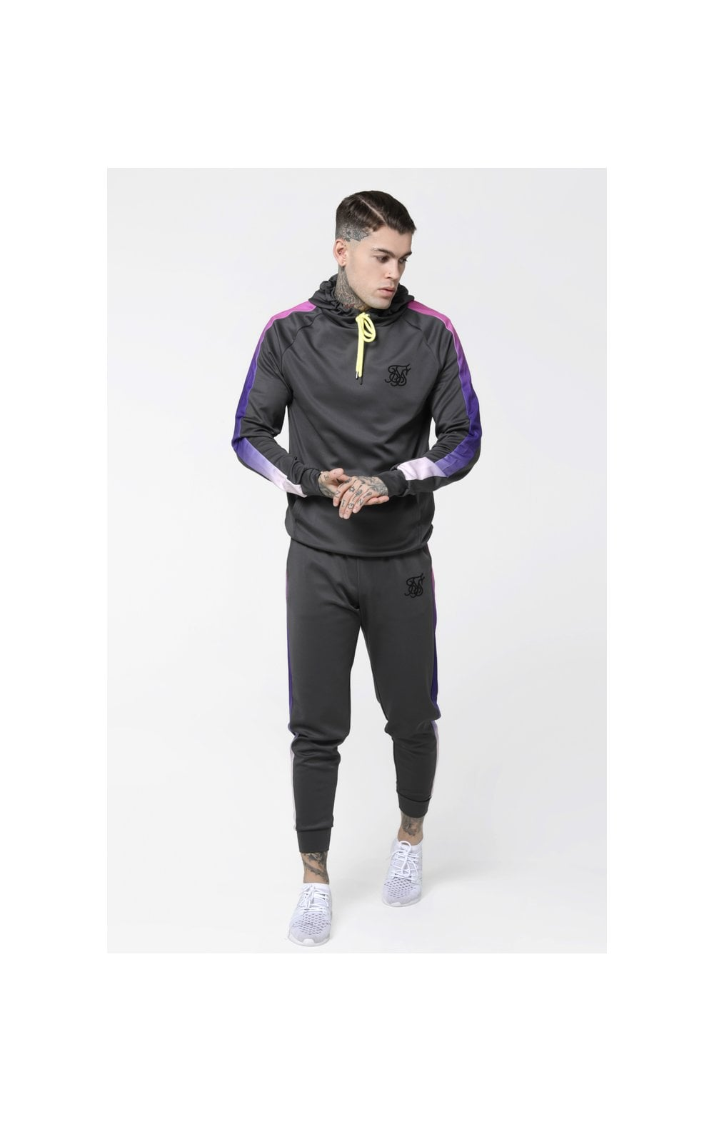 Load image into Gallery viewer, SikSilk Poly Overhead Fade Panel Hoodie - Urban Grey & Neon Tri Fade (1)