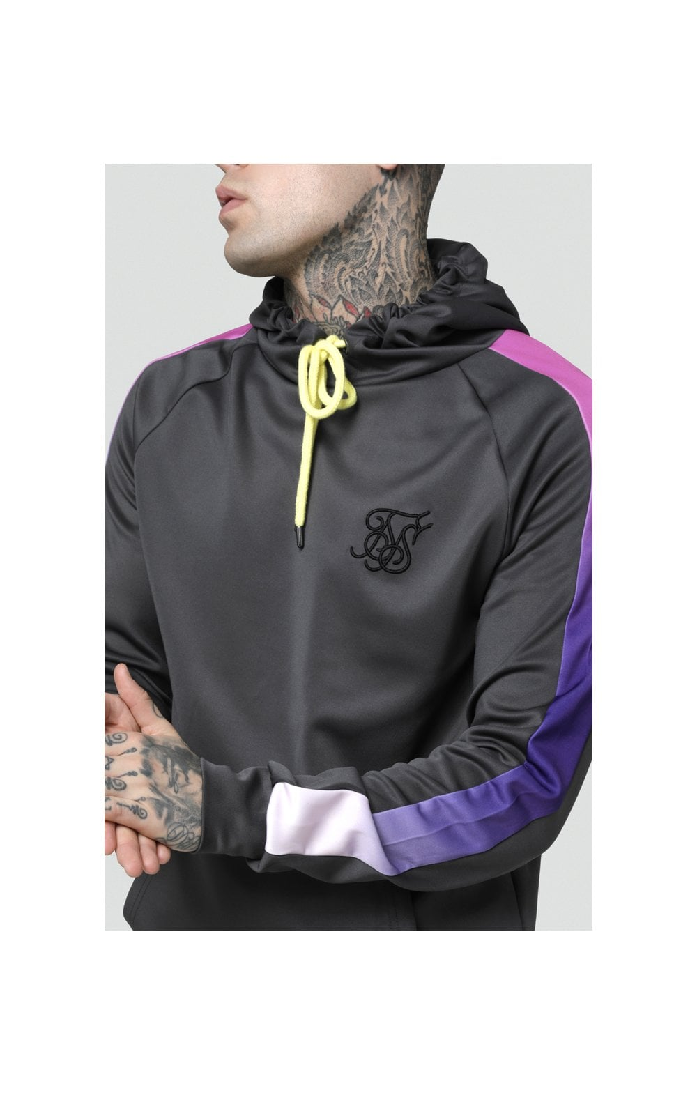 Load image into Gallery viewer, SikSilk Poly Overhead Fade Panel Hoodie - Urban Grey & Neon Tri Fade (2)