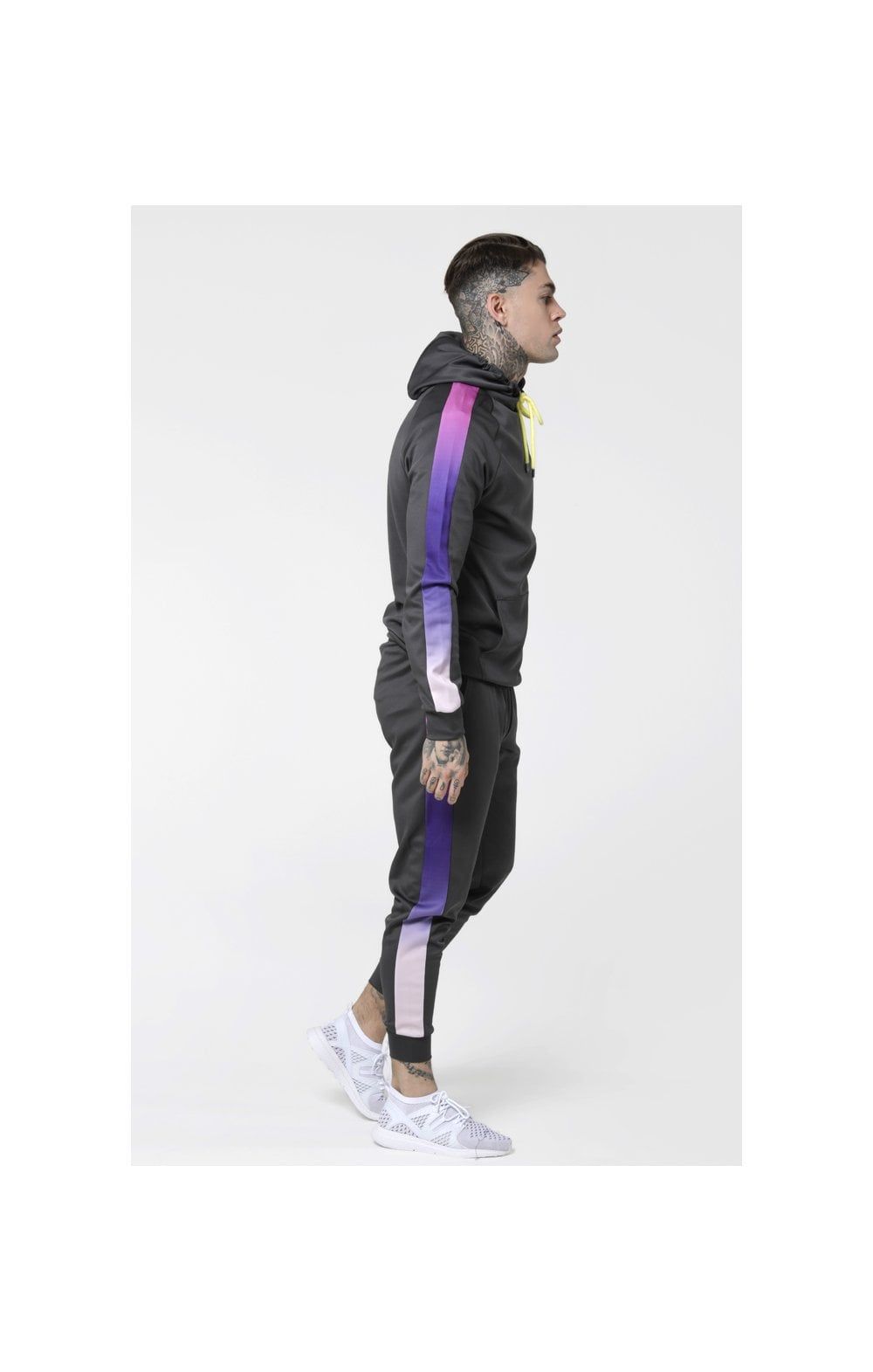 Load image into Gallery viewer, SikSilk Poly Overhead Fade Panel Hoodie - Urban Grey & Neon Tri Fade (3)