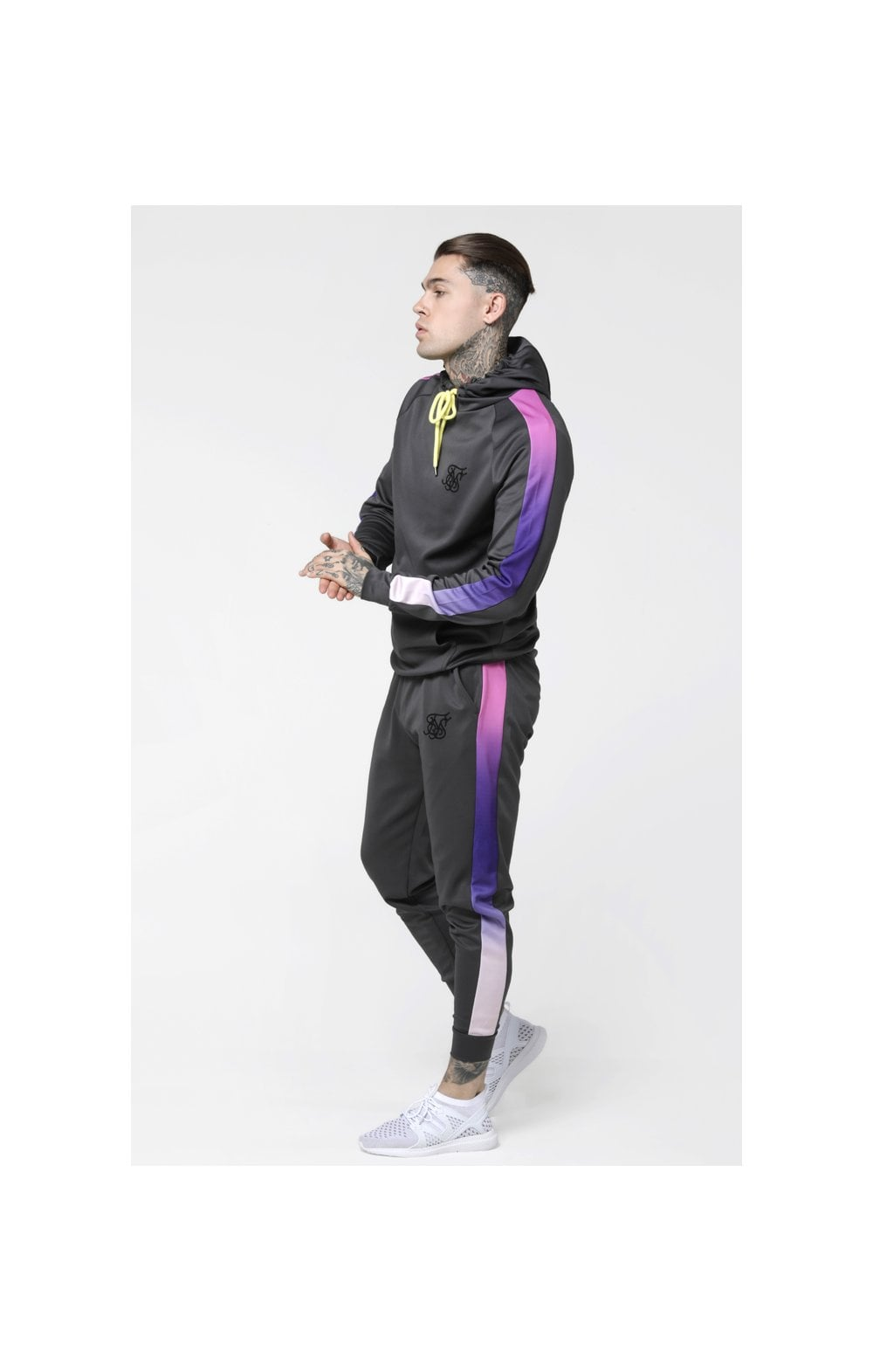 Load image into Gallery viewer, SikSilk Poly Overhead Fade Panel Hoodie - Urban Grey & Neon Tri Fade (4)