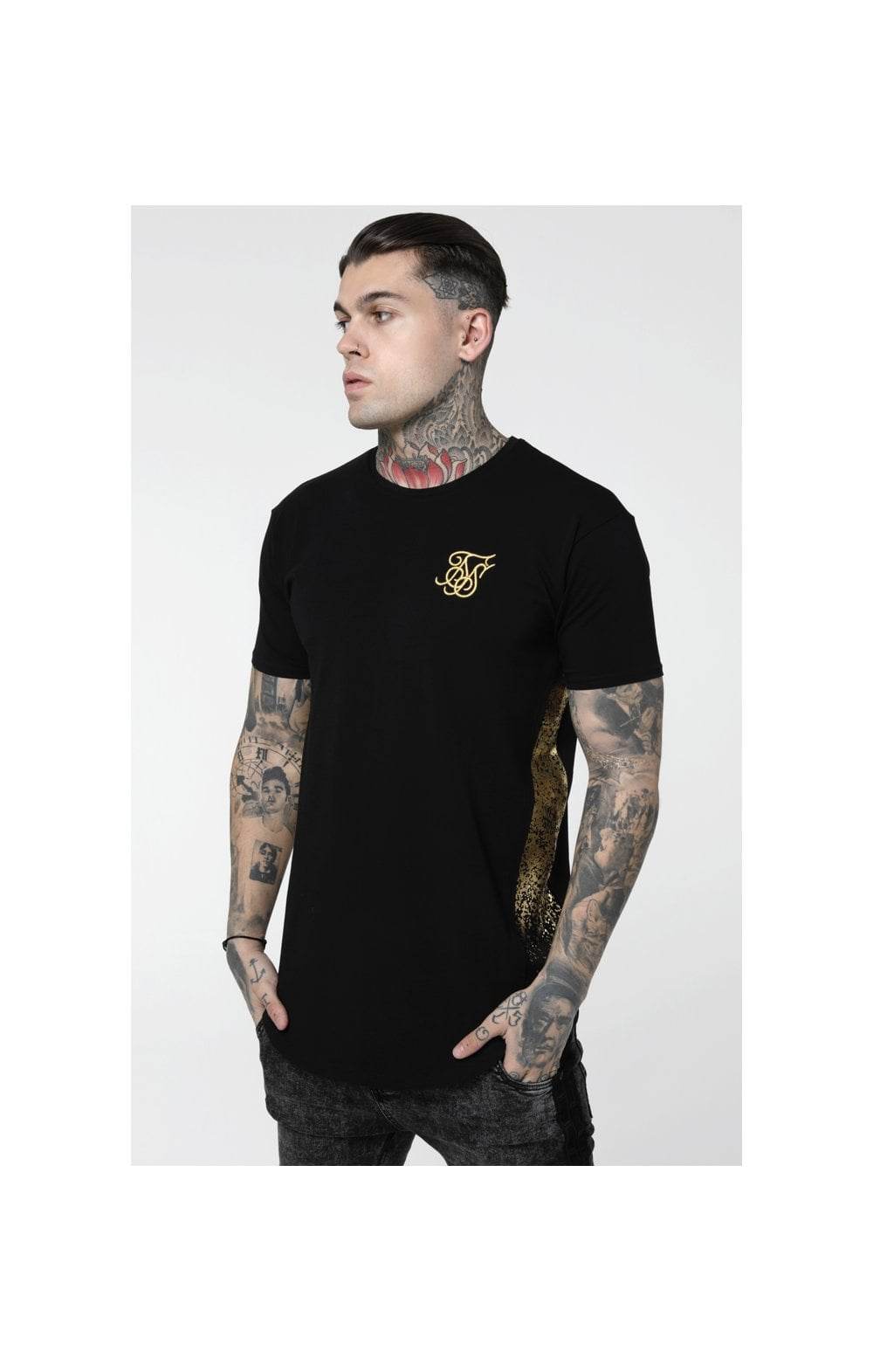 SikSilk S/S Foil Fade Panel Tee - Black & Gold