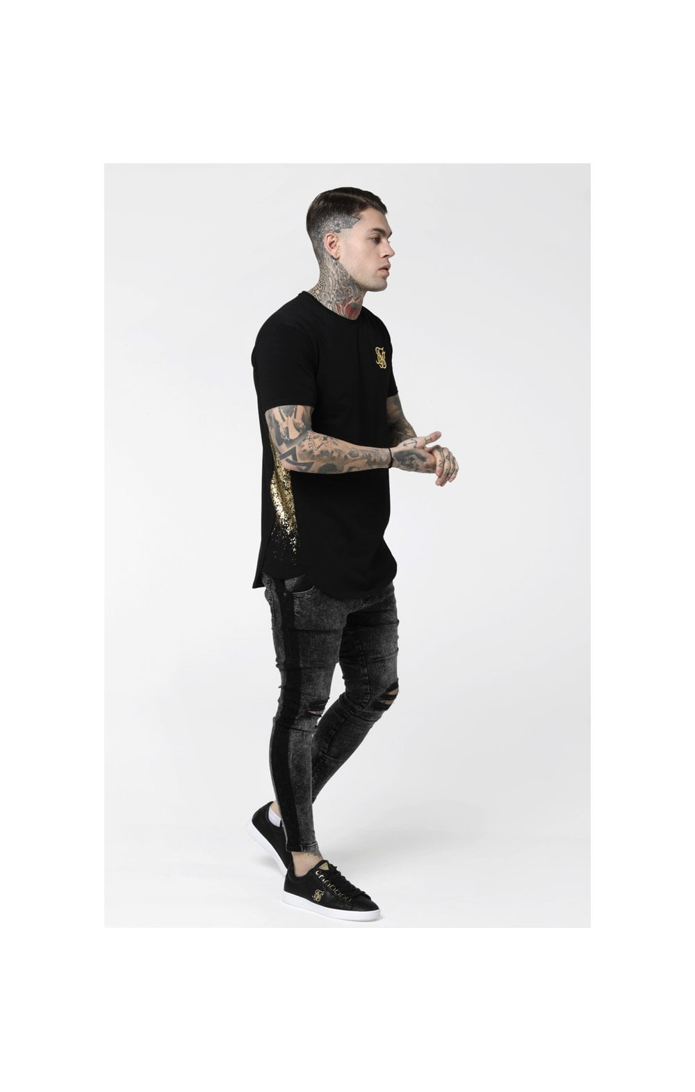 Load image into Gallery viewer, SikSilk S/S Foil Fade Panel Tee - Black & Gold (2)