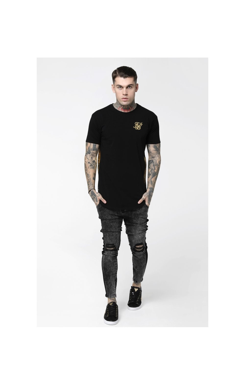 Load image into Gallery viewer, SikSilk S/S Foil Fade Panel Tee - Black & Gold (3)