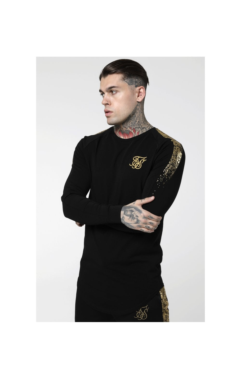 Load image into Gallery viewer, SikSilk L/S Foil Fade Panel Tee - Black & Gold (1)