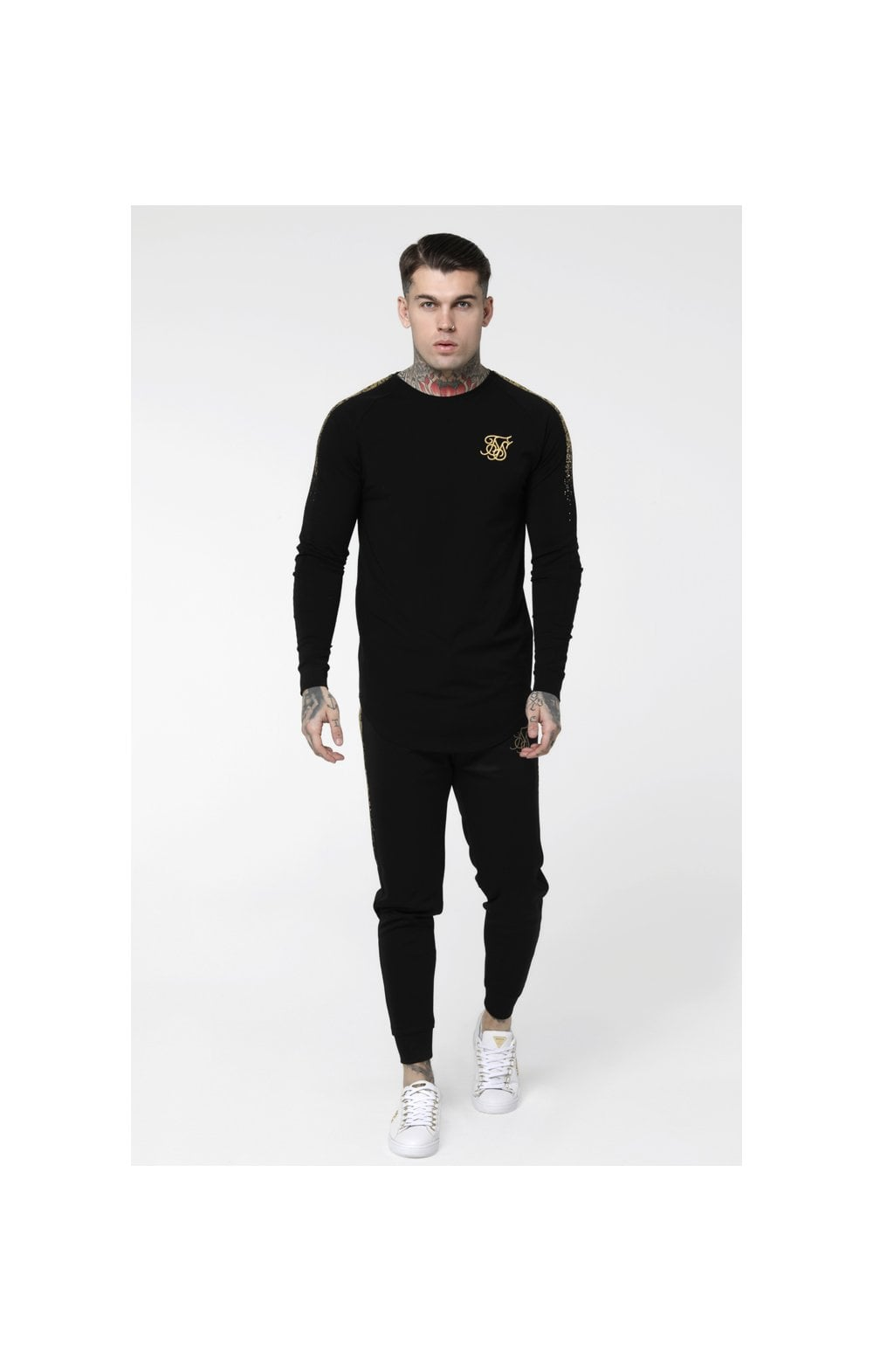 Load image into Gallery viewer, SikSilk L/S Foil Fade Panel Tee - Black & Gold (3)