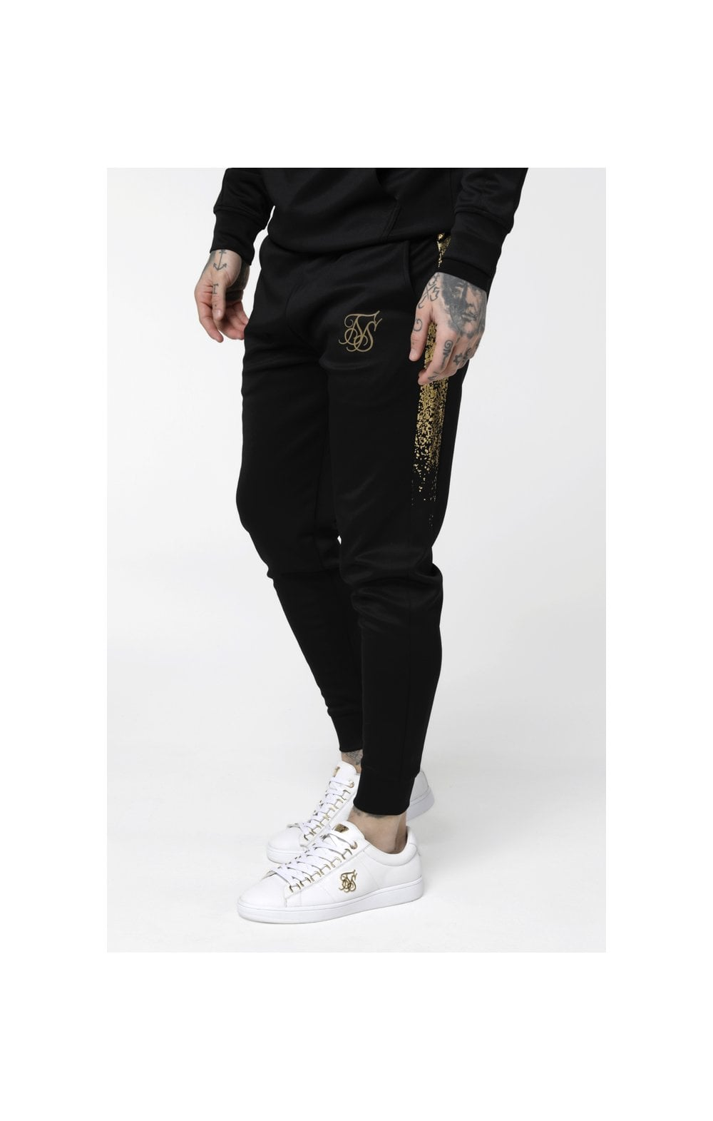 SikSilk Cuffed Cropped Foil Fade Panel Pants - Black & Gold