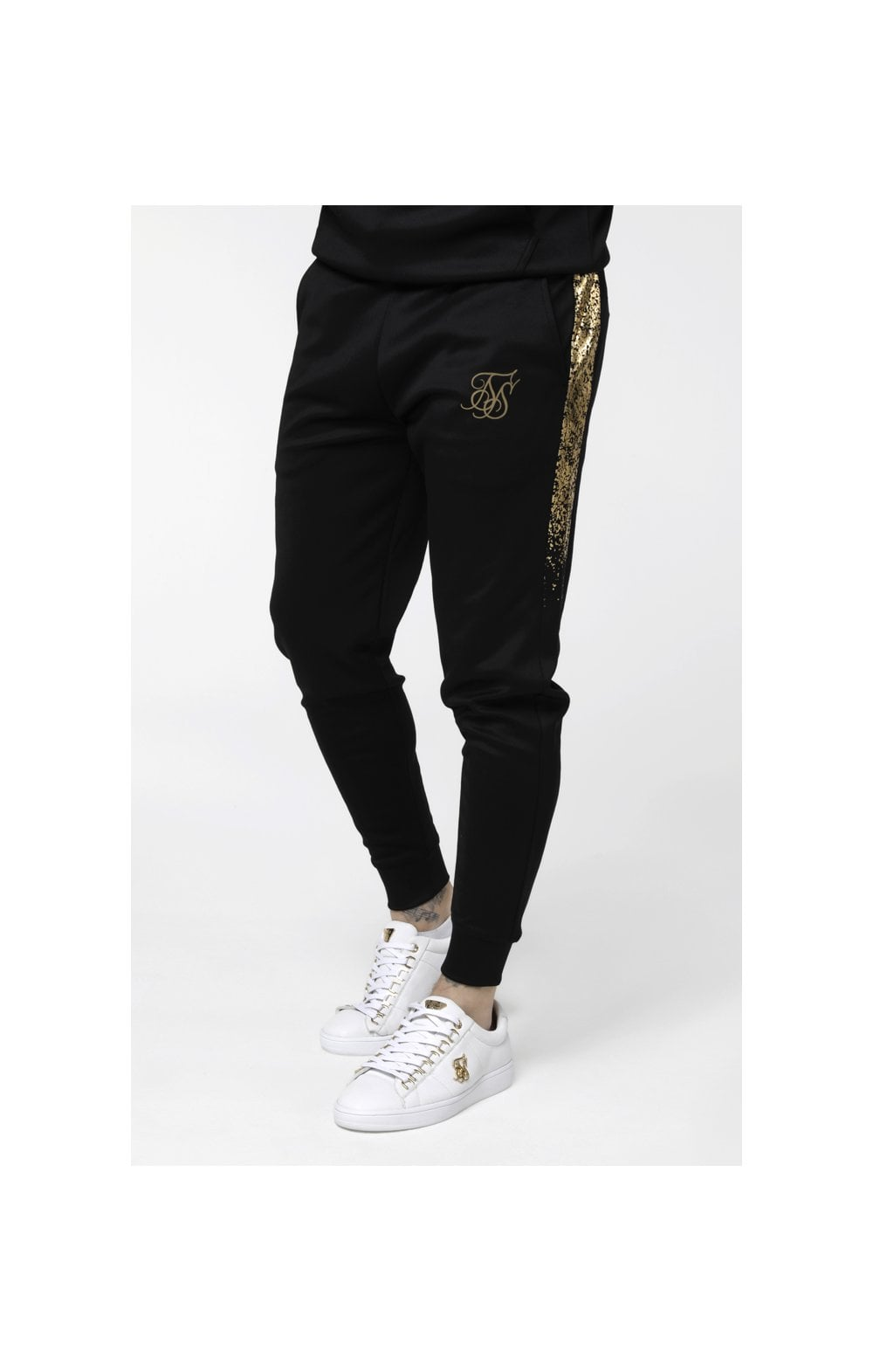 SikSilk Cuffed Cropped Foil Fade Panel Pants - Black & Gold (1)