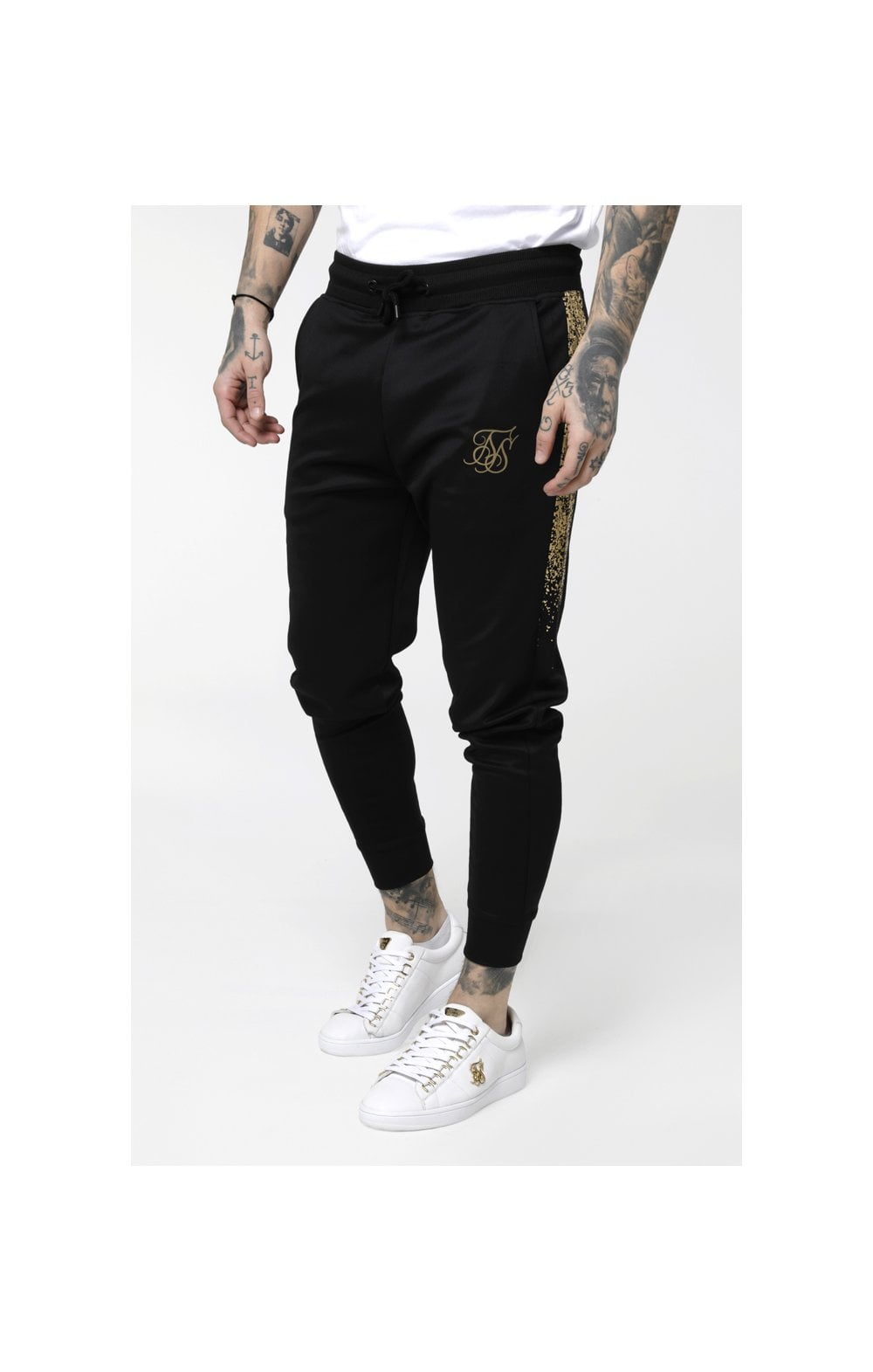 SikSilk Cuffed Cropped Foil Fade Panel Pants - Black & Gold (2)