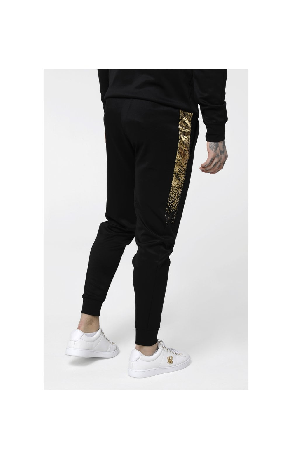 SikSilk Cuffed Cropped Foil Fade Panel Pants - Black & Gold (3)