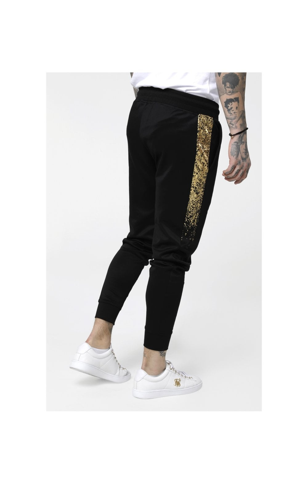 SikSilk Cuffed Cropped Foil Fade Panel Pants - Black & Gold (4)