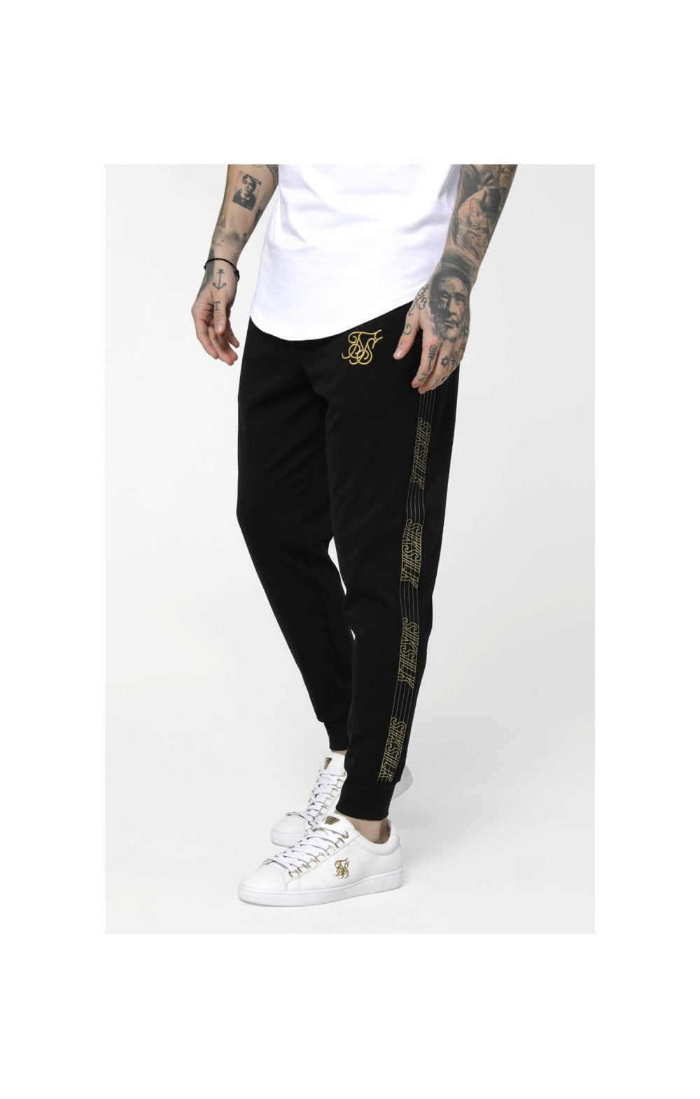 Load image into Gallery viewer, SikSilk Gold Edit Cuffed Cropped Runner Joggers - Black (1)
