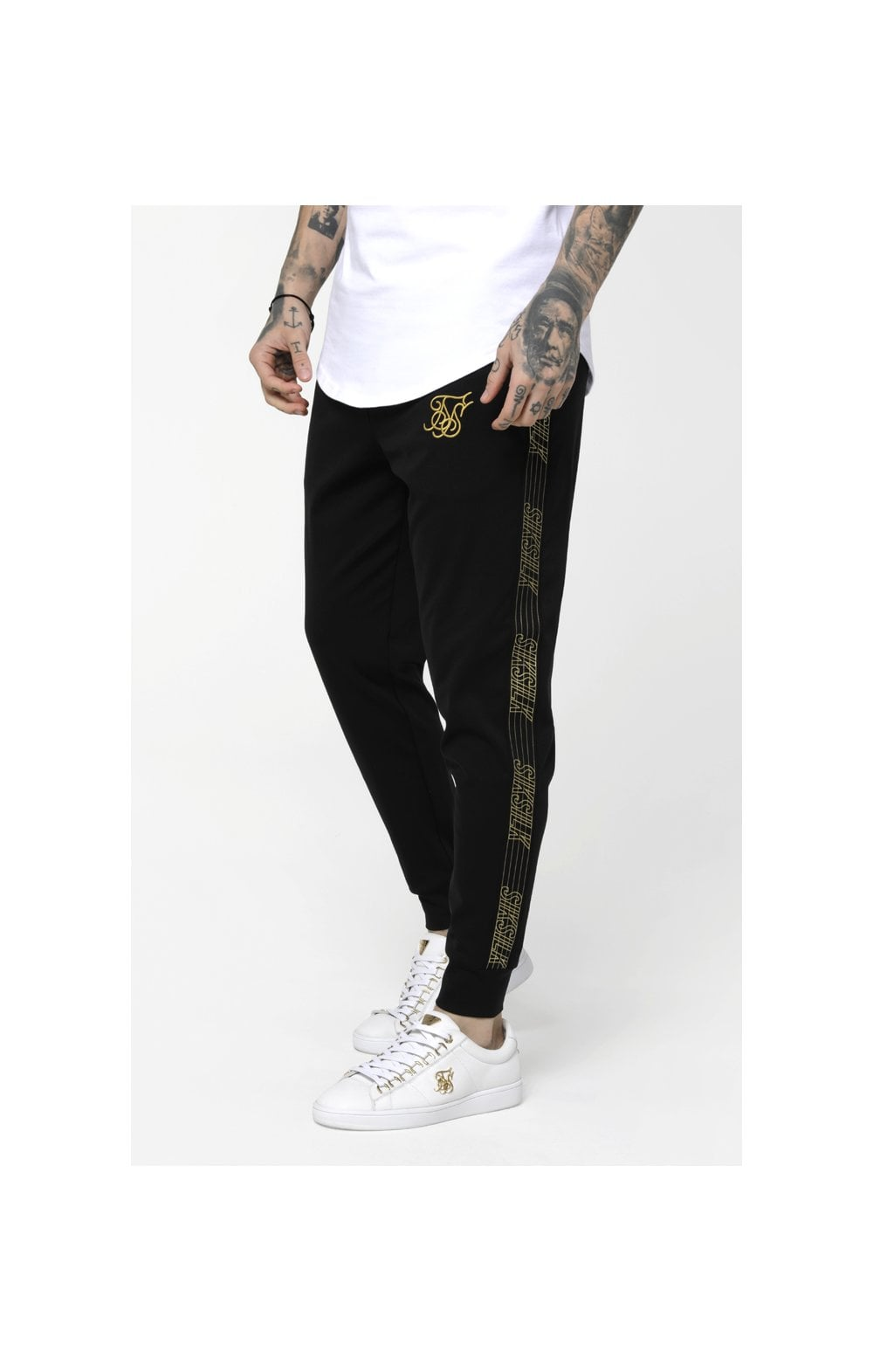 Load image into Gallery viewer, SikSilk Gold Edit Cuffed Cropped Runner Joggers - Black (2)