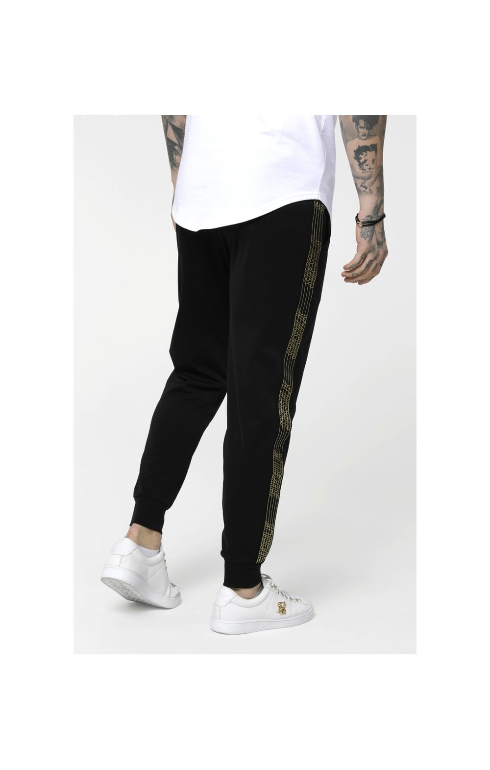 Load image into Gallery viewer, SikSilk Gold Edit Cuffed Cropped Runner Joggers - Black (3)