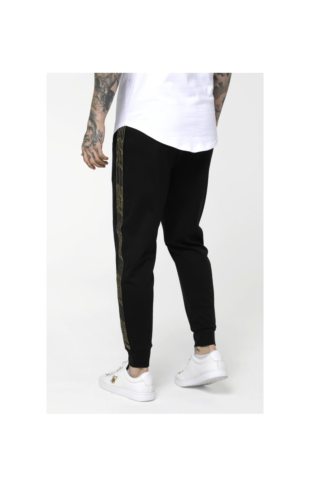 Load image into Gallery viewer, SikSilk Gold Edit Cuffed Cropped Runner Joggers - Black (4)