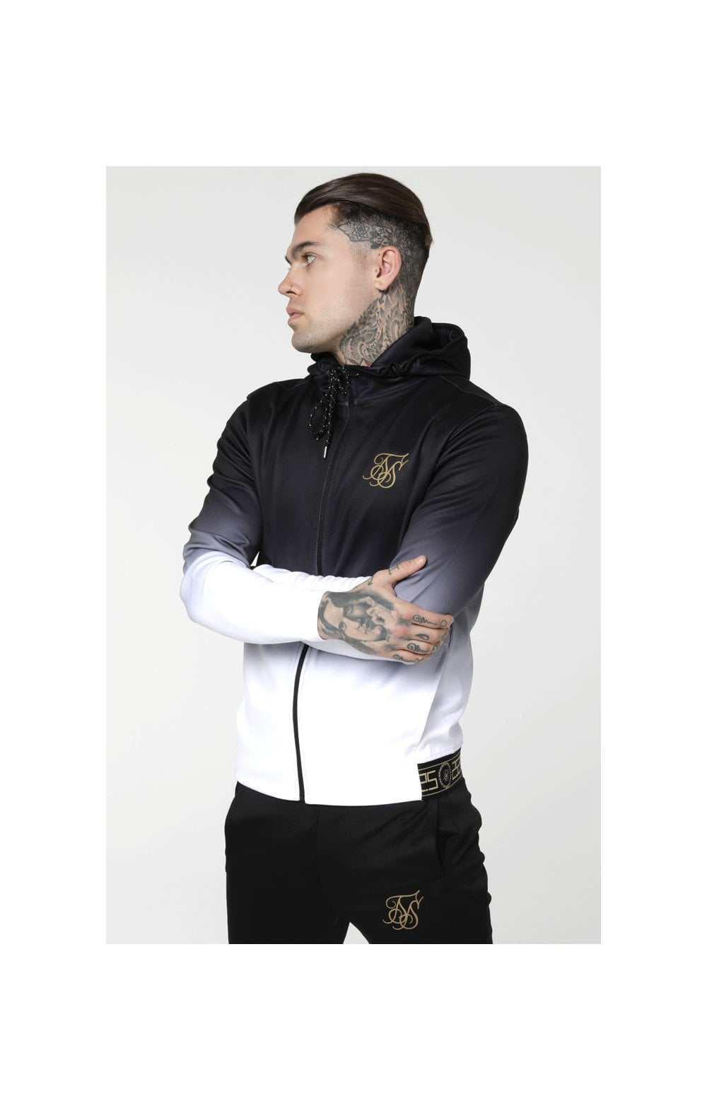 Load image into Gallery viewer, SikSilk Agility Zip Through Hoodie - Black & White (1)
