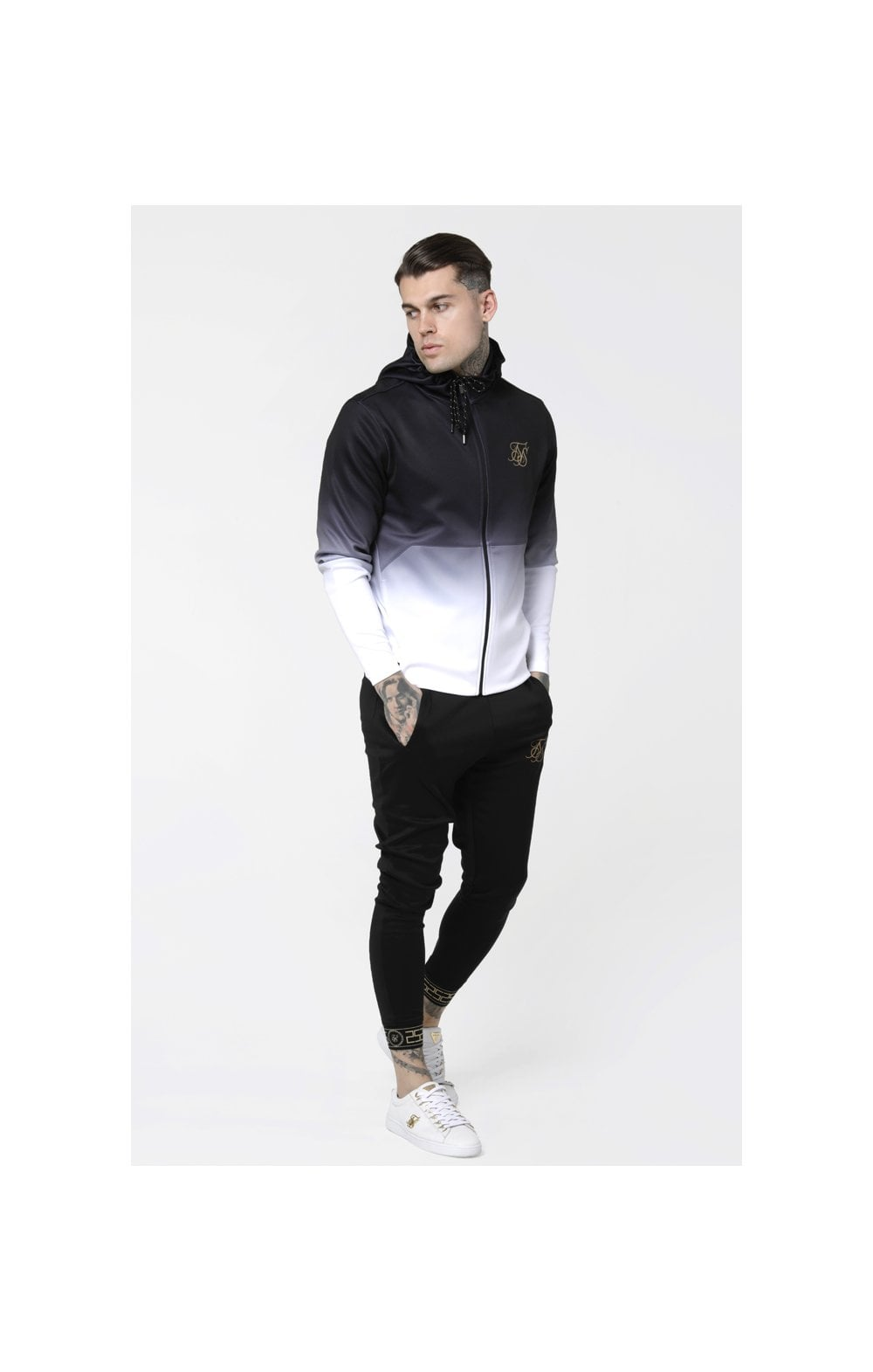 Load image into Gallery viewer, SikSilk Agility Zip Through Hoodie - Black & White (2)