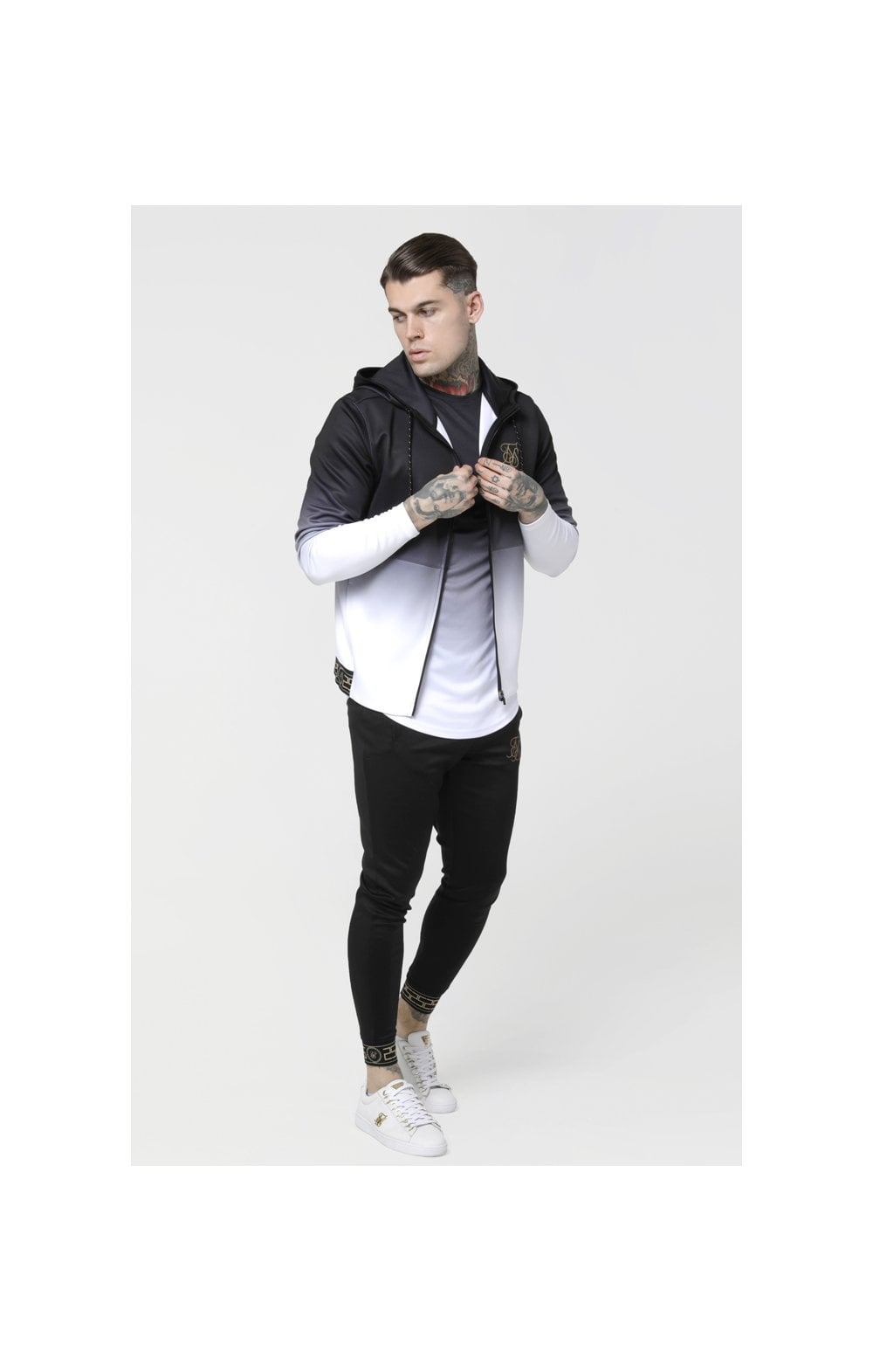Load image into Gallery viewer, SikSilk Agility Zip Through Hoodie - Black & White (5)