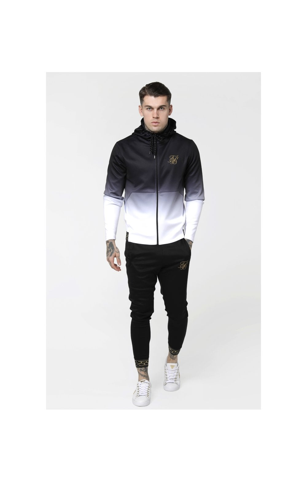 Load image into Gallery viewer, SikSilk Agility Zip Through Hoodie - Black & White (4)