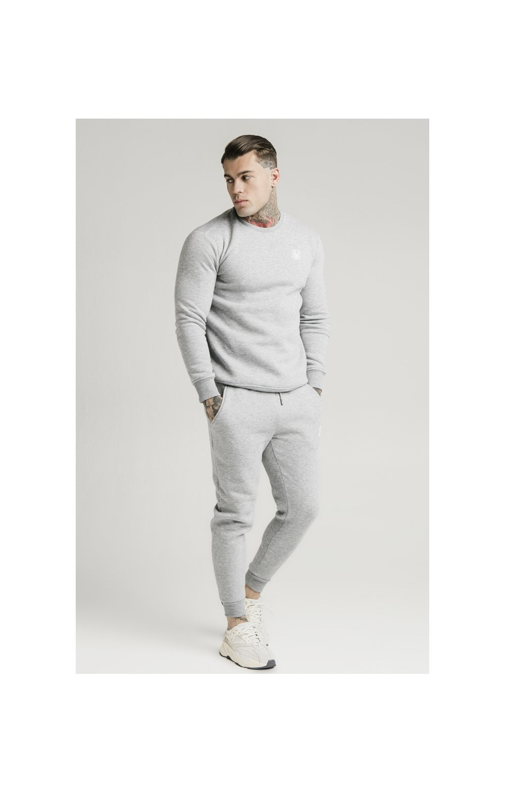 SikSilk Muscle Fit Jogger – Grey Marl (2)