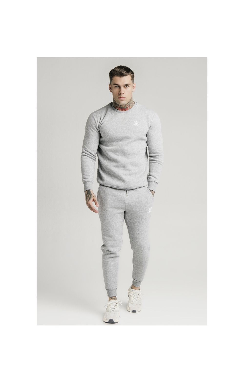SikSilk Muscle Fit Jogger – Grey Marl (3)