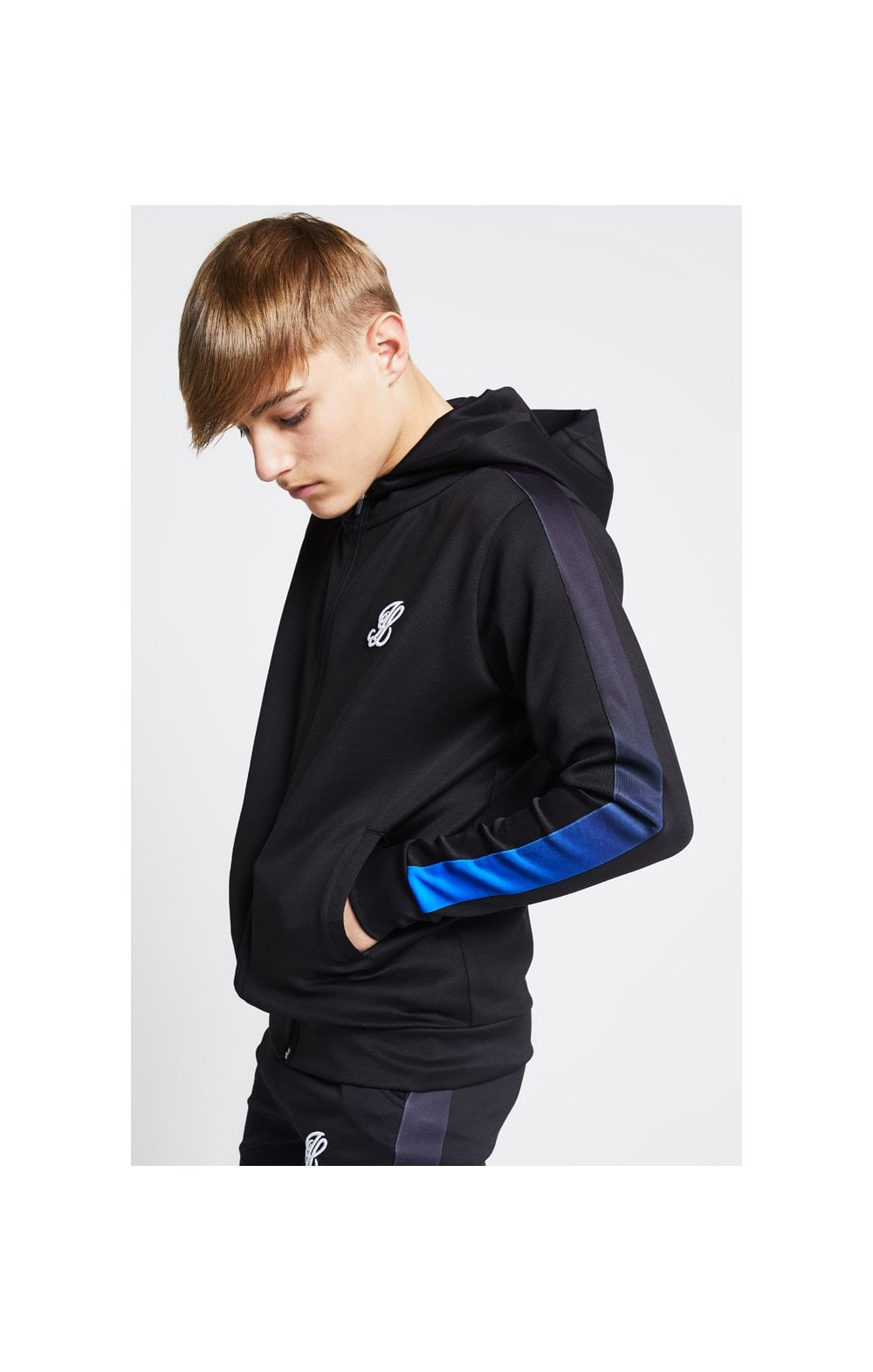 Illusive London Zip Through Hoodie – Black & Blue