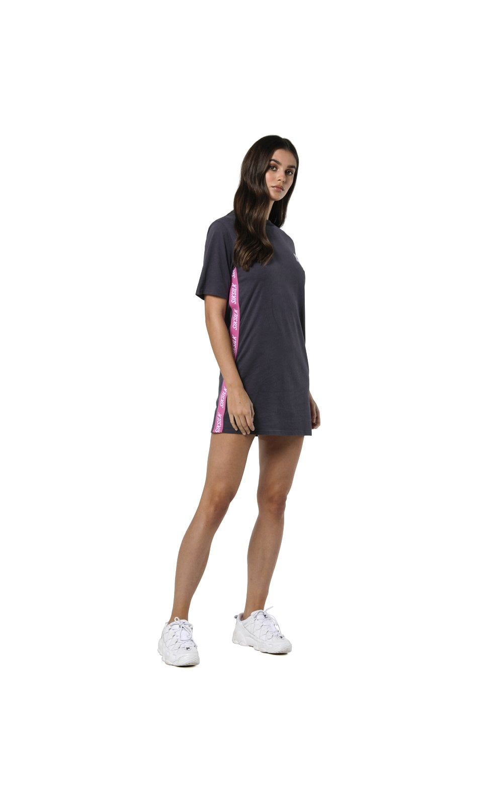 Load image into Gallery viewer, SikSilk Tape Side T-Shirt Dress - Nine Iron (6)