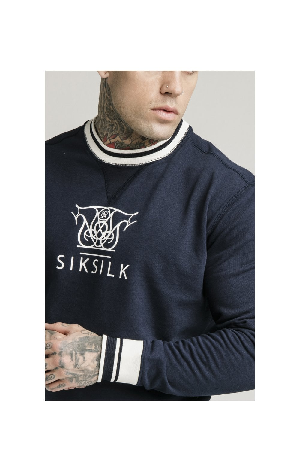 SikSilk Regal Crew Neck Sweater – Navy