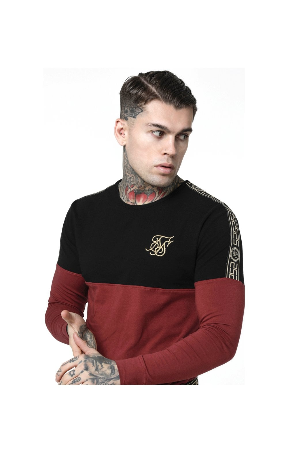 SikSilk L/S Cartel Cut & Sew Half Tape Gym Tee - Black & Red