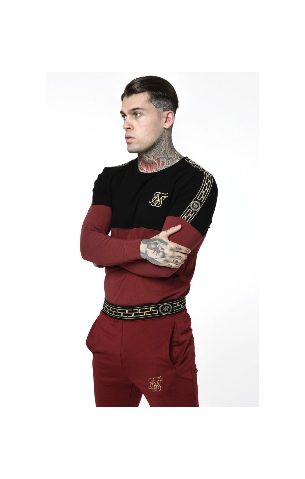Load image into Gallery viewer, SikSilk L/S Cartel Cut & Sew Half Tape Gym Tee - Black & Red (1)