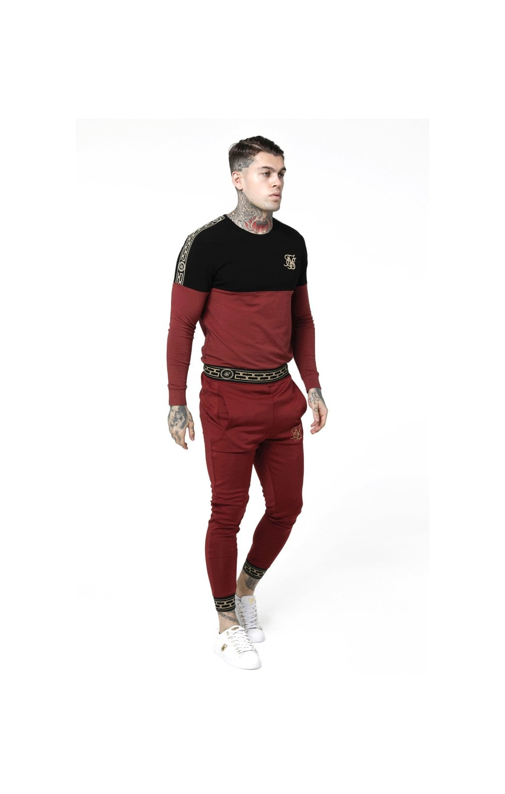 Load image into Gallery viewer, SikSilk L/S Cartel Cut & Sew Half Tape Gym Tee - Black & Red (2)