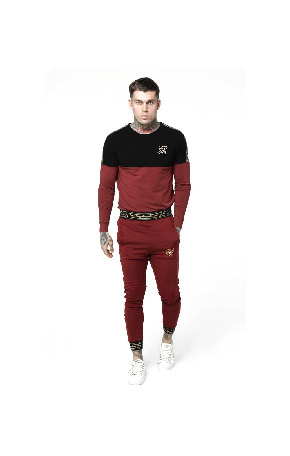 Load image into Gallery viewer, SikSilk L/S Cartel Cut & Sew Half Tape Gym Tee - Black & Red (3)