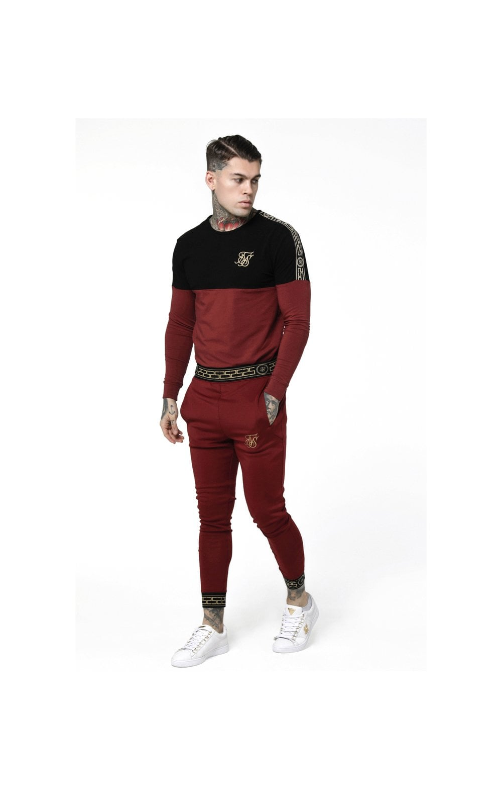 Load image into Gallery viewer, SikSilk L/S Cartel Cut & Sew Half Tape Gym Tee - Black & Red (4)