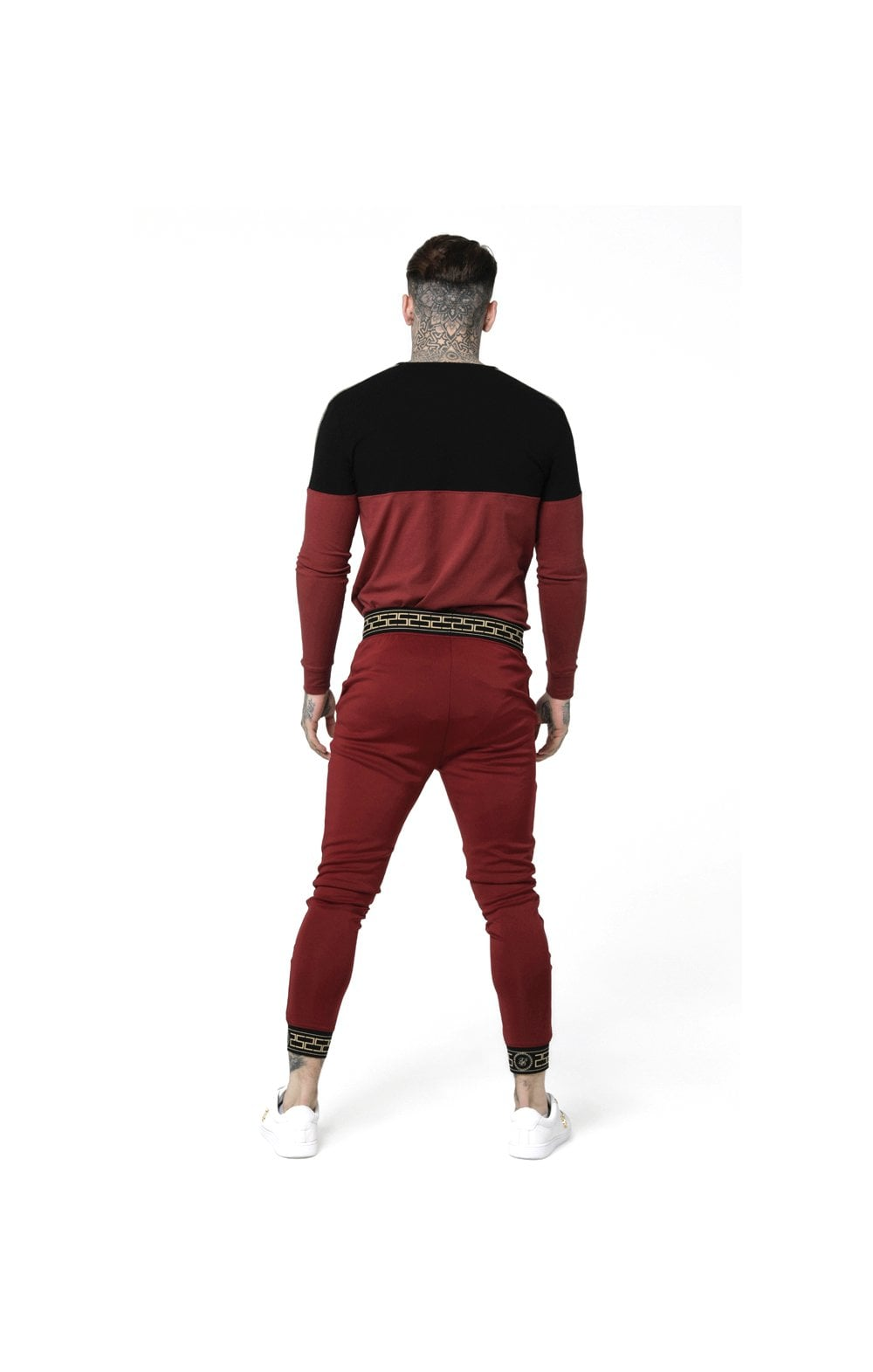 Load image into Gallery viewer, SikSilk L/S Cartel Cut & Sew Half Tape Gym Tee - Black & Red (5)