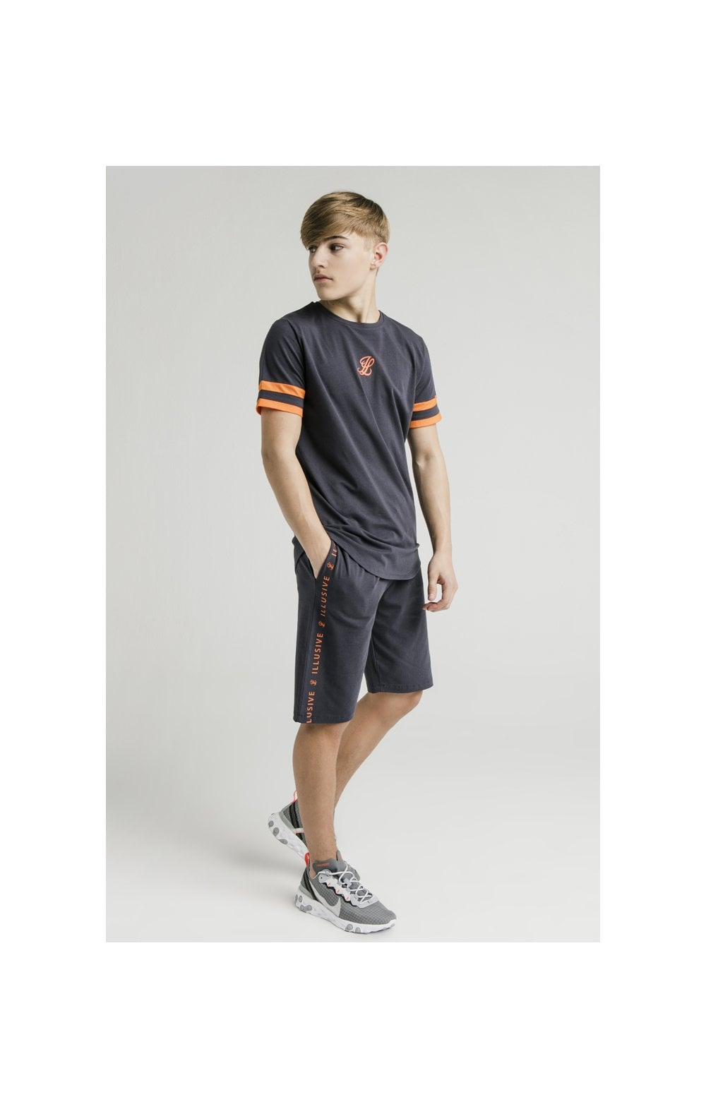 Load image into Gallery viewer, Illusive London Jersey Shorts – Grey & Orange (1)