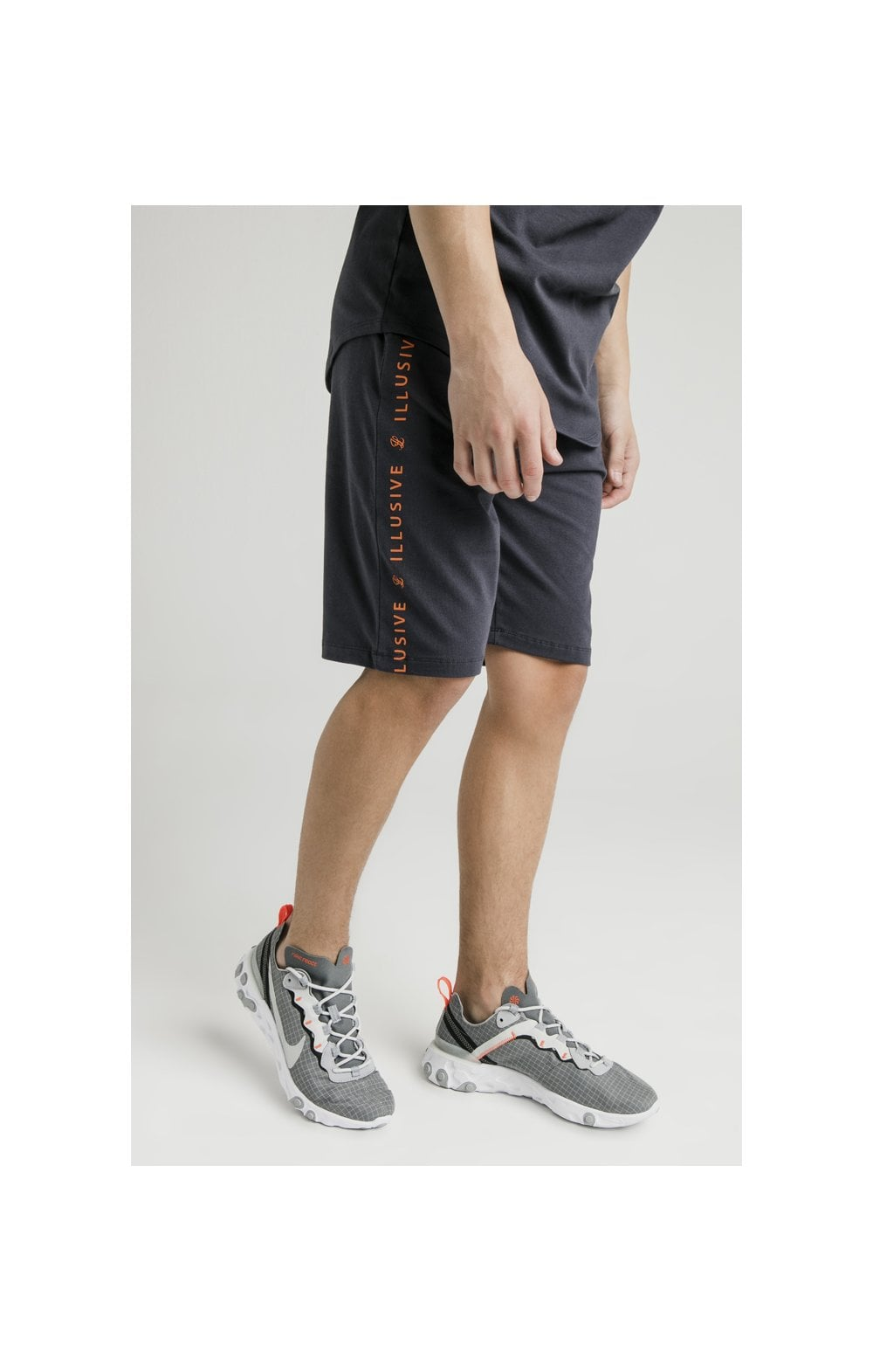 Load image into Gallery viewer, Illusive London Jersey Shorts – Grey & Orange (2)