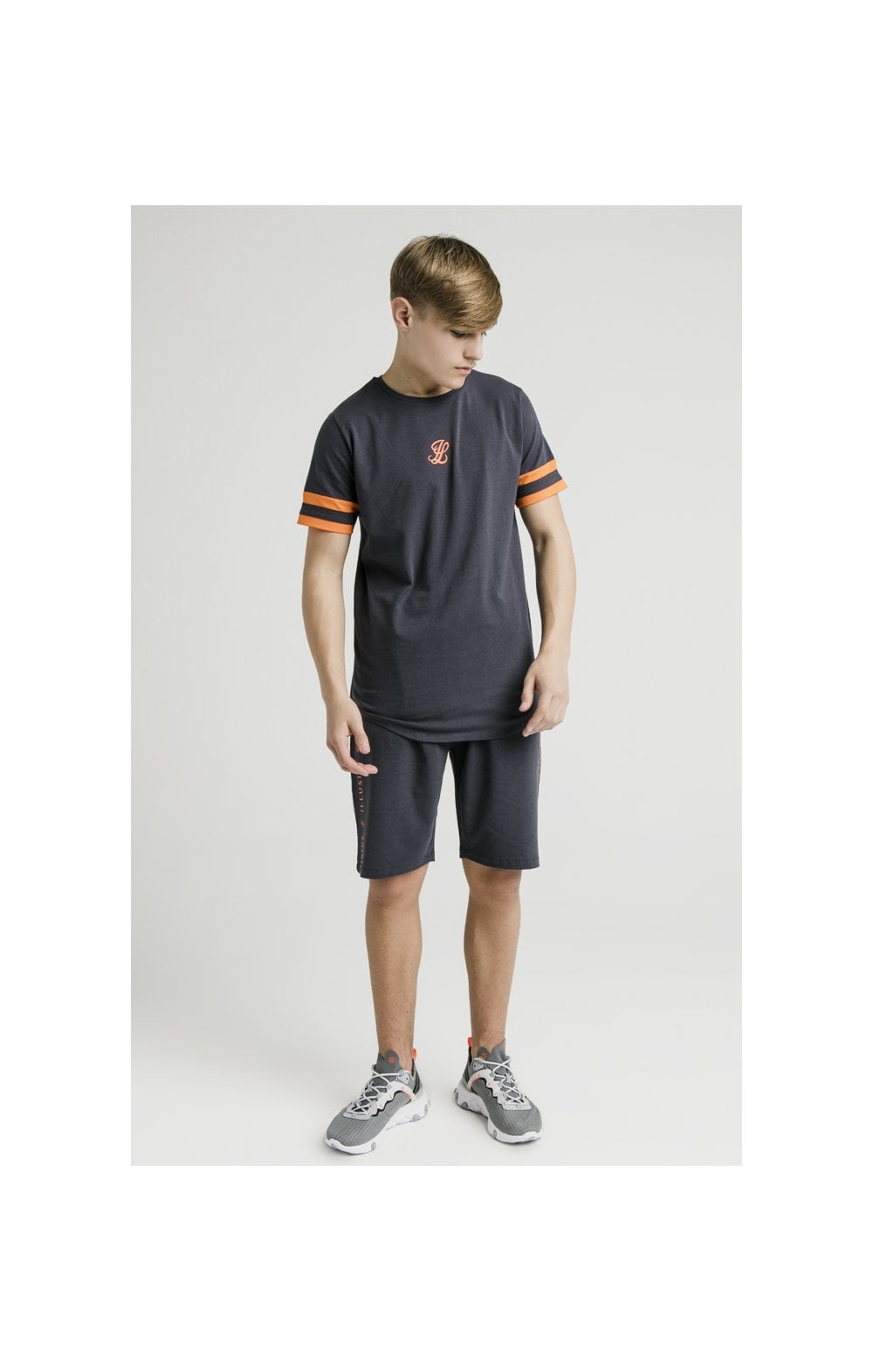 Load image into Gallery viewer, Illusive London Jersey Shorts – Grey & Orange (3)