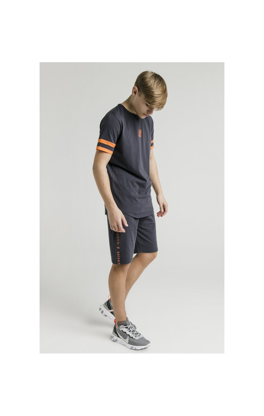Load image into Gallery viewer, Illusive London Jersey Shorts – Grey & Orange (4)